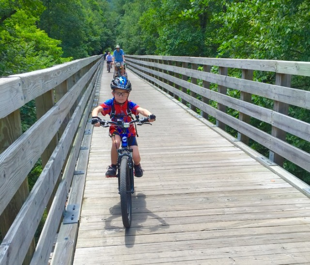 riding bikes along the Virginia Creeper Trail  - 1