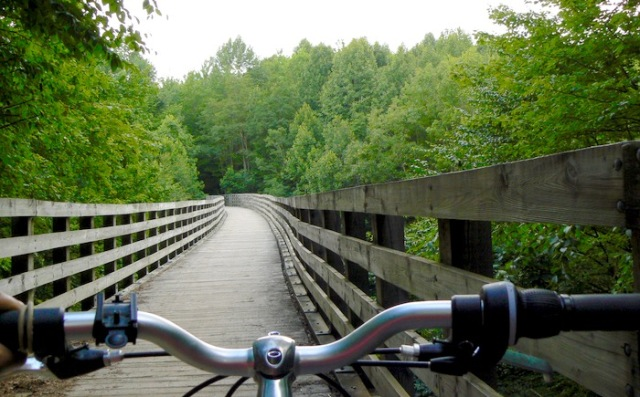 riding on a bridge on the Virginia Creeper Trail - 1