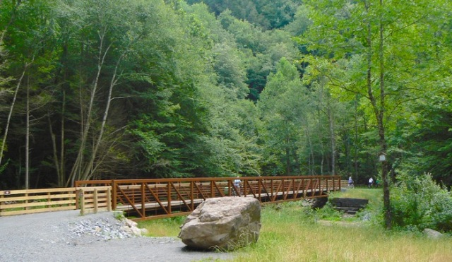 riding on the Virginia Creeper trail bridge