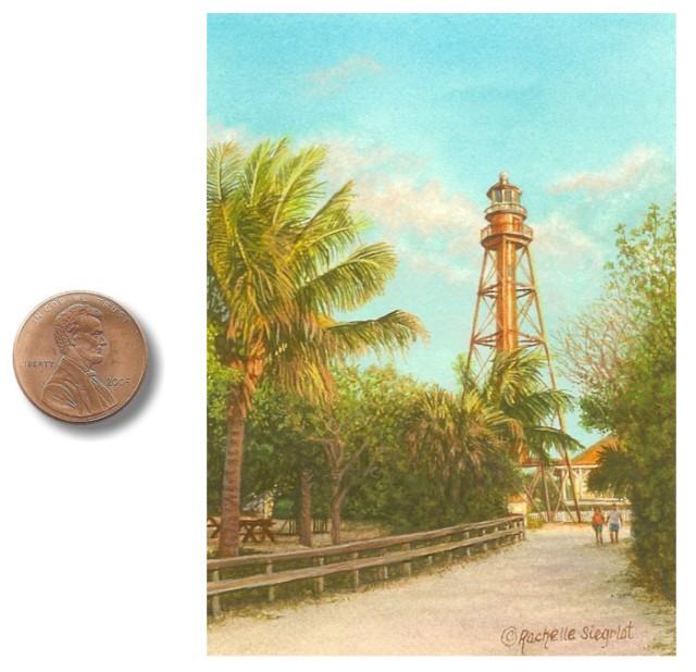 Sanibel Island Lighthouse miniature painting by Rachelle Siegrist