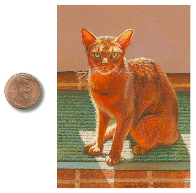Miniature painting of a cat by Wes and Rachelle Siegrist
