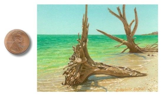 beach painting of lovers key state park by rachelle siegrist