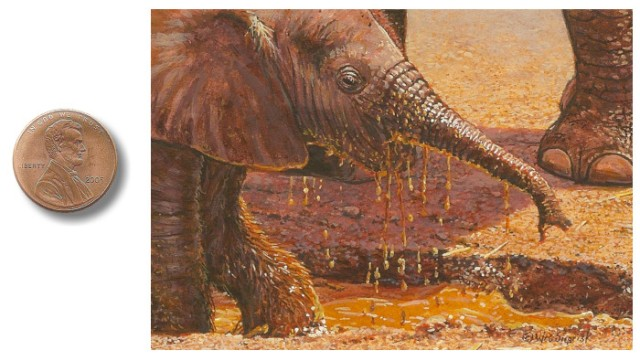 The Irresistible Mud Hole miniature painting of a baby elephant by Wes Siegrist