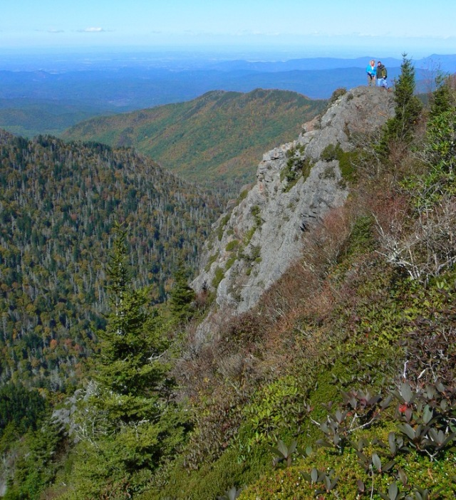 rachelle siegrist and kit gentry on charlies bunion in the smokies - 1