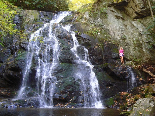 rachelle siegrist by spruce flats falls in fall