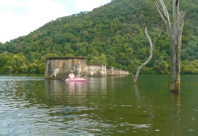 rachelle siegrist kayaking by old trestles in the tennessee river - 1