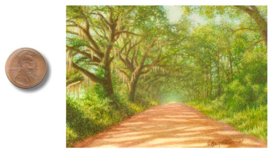 oak tree lined road landscape painting, southern georgia landscape painting
