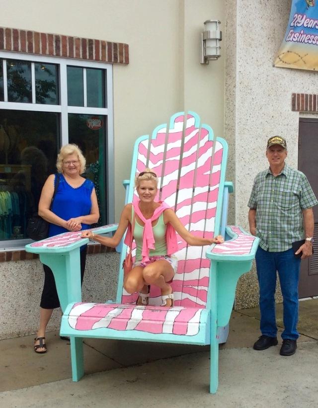 rachelle siegrist in big beach chair