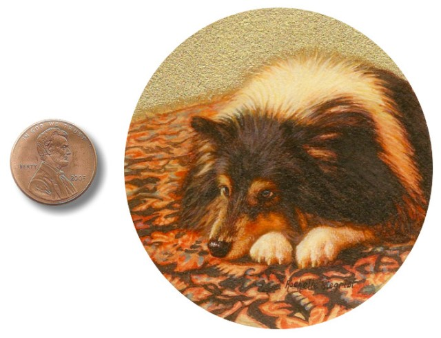 sheltie dog painting by rachelle siegrist