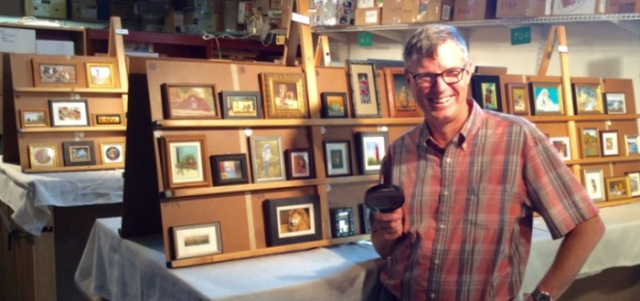 wes siegrist judging the miniature paintings at MASF