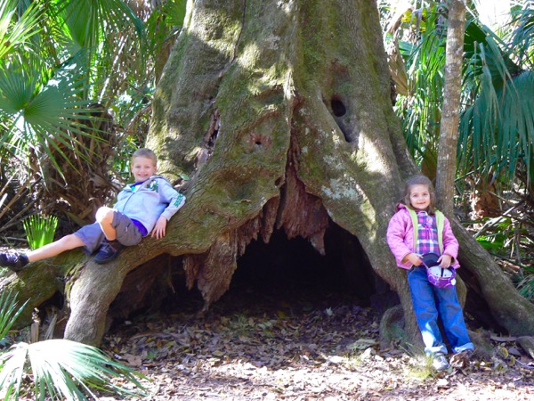 Tyler and Haydyn by the deep sea creature tree