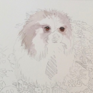 Pomeranian painting commission a dog painting
