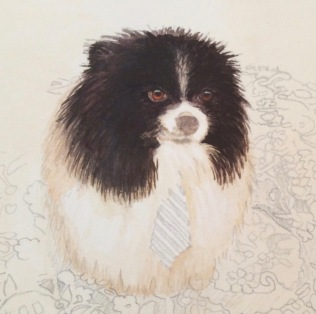 Pomeranian painting commission a dog painting2