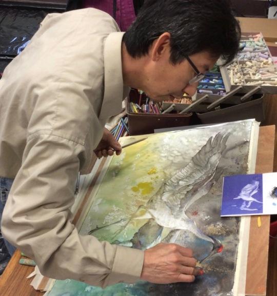 Dan Chen painting cranes.jpg