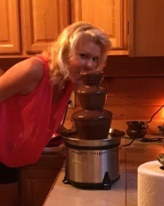 rachelle siegrist with a chocolate fountain