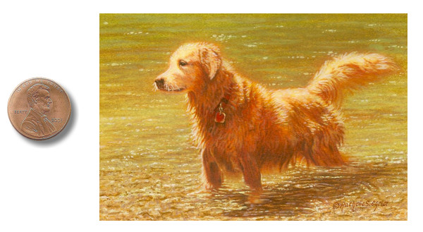dog painting, golden retriever painting, dog commission