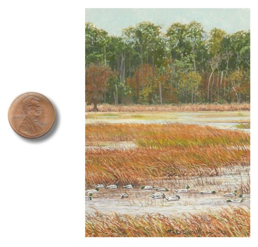 landscape painting, waterfowl painting, duck painting