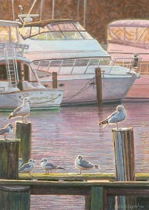 sunrise-at-the-marina-boat-painting-by-wes-siegrist