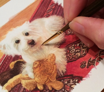 rachelle-siegrist-painting-a-dog-commission