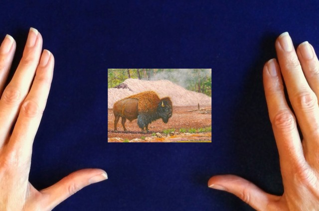 bison painting, miniature bison painting by wes siegrist