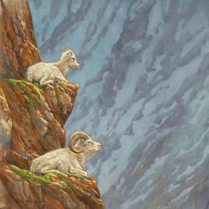 Two Sheep With A View big horn sheep painitng