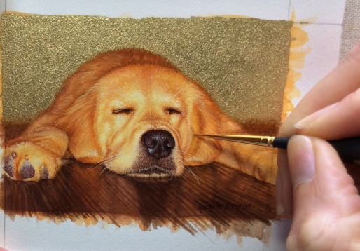 yellow lab painting, yellow Labrador Retriever painting, dog commission by rachelle siegrist