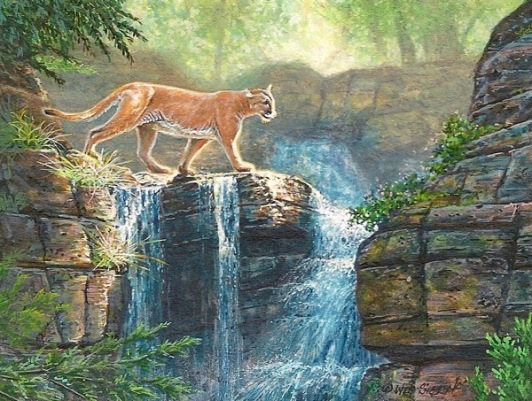 cougar painting wes siegrist Crossing The Falls