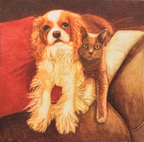 dog and cat painting in progress by rachelle siegrist