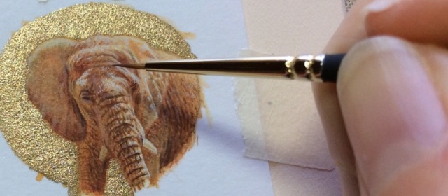 miniature elephant painting in progress