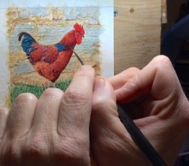Wes Siegrist working on a miniature painting