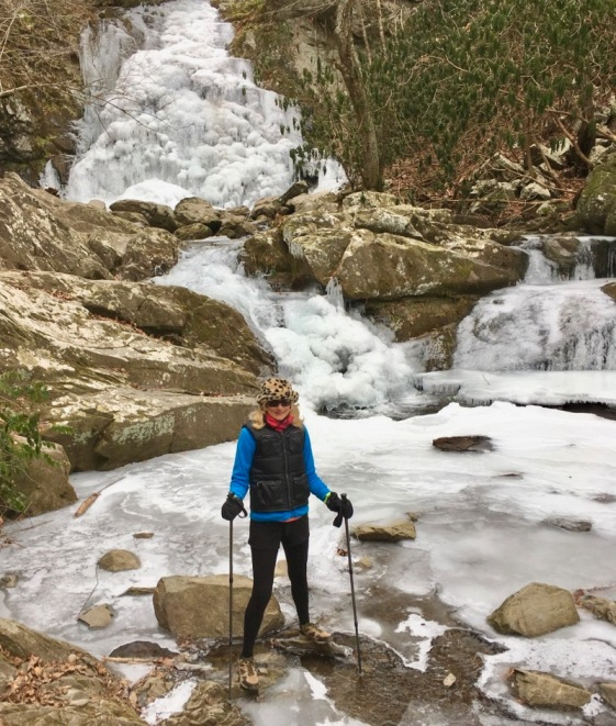 rachelle siegrist with frozen smokies waterfall