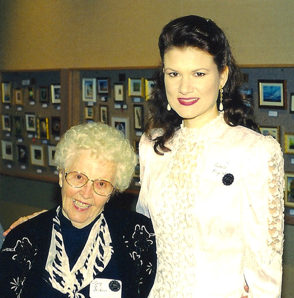 Nana and Rachelle Siegrist at the Museum of Fine Arts, St. Petersburg, FL attending the annual Miniature Art Society of Florida Exhibition. (2000)