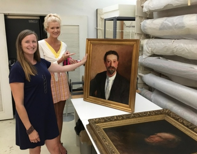 rachelle siegrist with john singer sargent painting stamford museum & Nature Center