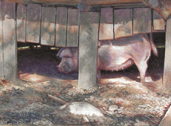 cute pig painting by Wes Siegrist