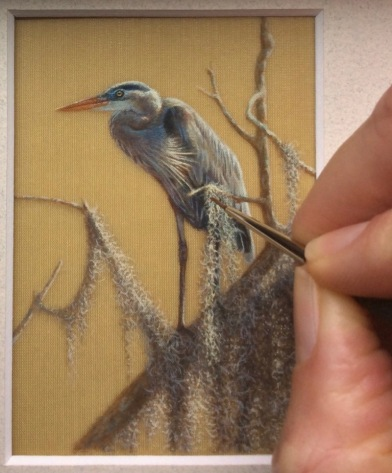 great blue heron painting on silk