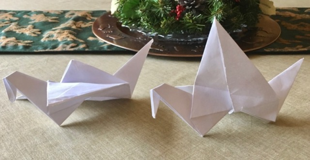 origami bird sculptures