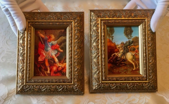 miniature paintings of michael the archangel & st. george and the dragon