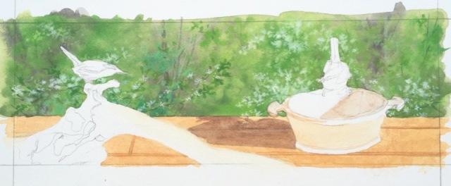 carolina wren painting commisssion in progress
