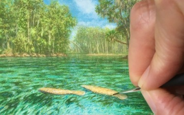 three sisters springs and manatee painting