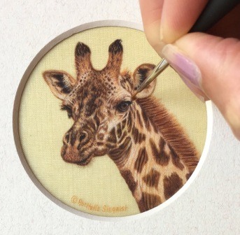 giraffe painting on silk