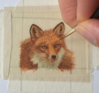 rachelle siegrist painting a red fox