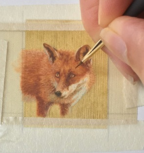 red fox miniature painting rachelle siegrist