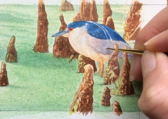 miniature heron painting by rachelle siegrist