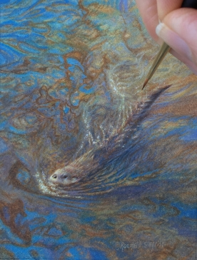 Rachelle Siegrist painting a river otter in miniature