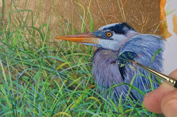 blue heron painting by wes siegrist