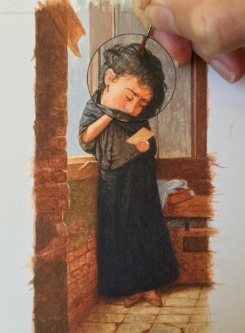 Painting Almeida Júnior's Saudade in Miniature2