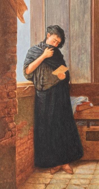 miniature painting of Almeida Junior's Saudade
