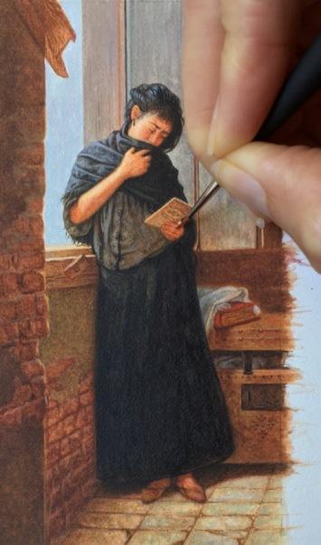 miniature painting of Almeida Junior's Saudade3