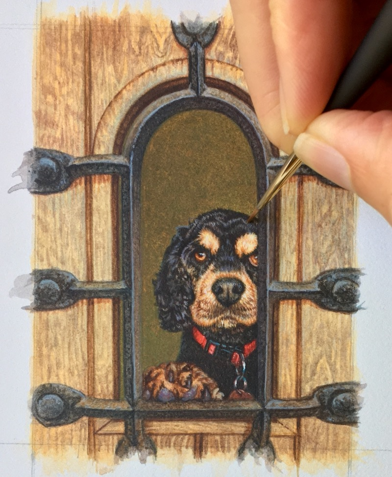 cocker spaniel dog painting commission