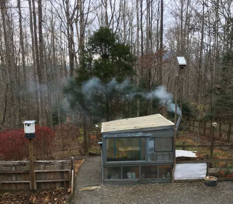 green house with rocket stove inside